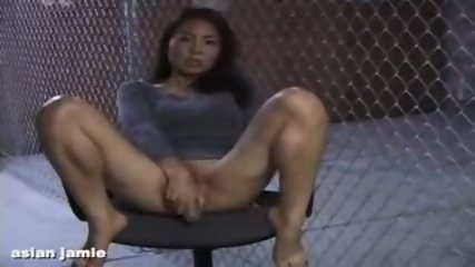 Asian Girl doing herself on a Chair - scene 1