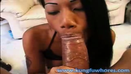 Sultry Asian slut blows on a big fat cock - scene 6
