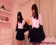 Cute Asian Schoolgirls Lesbo Fun At Sleepover