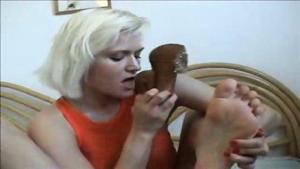 Hot shoejob cum on feet - scene 12