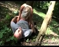 Platinum Blonde Teen Fucks A Lucky Senior In The Woods