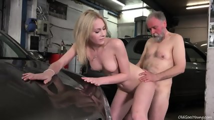 Young Blonde Rides Old Guy's Dick In Garage - scene 8