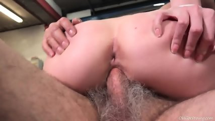 Young Blonde Rides Old Guy's Dick In Garage - scene 11