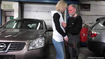 Young Blonde Rides Old Guy's Dick In Garage - scene 2