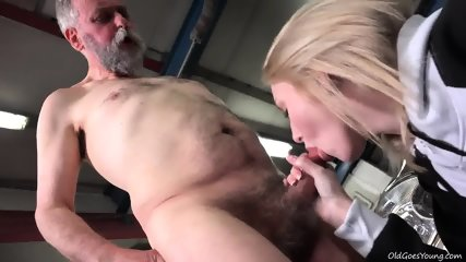 Young Blonde Rides Old Guy's Dick In Garage - scene 3