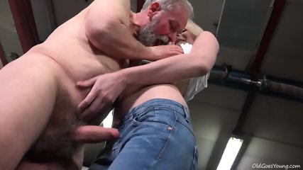 Young Blonde Rides Old Guy's Dick In Garage - scene 4