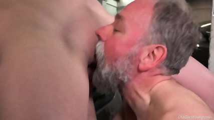 Young Blonde Rides Old Guy's Dick In Garage - scene 7