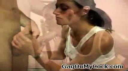 Brunette hottie gets a hard cock forced down her throat - scene 1