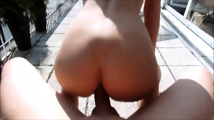 Blowjob, Anal Sex And Creampie On Terrace - scene 7