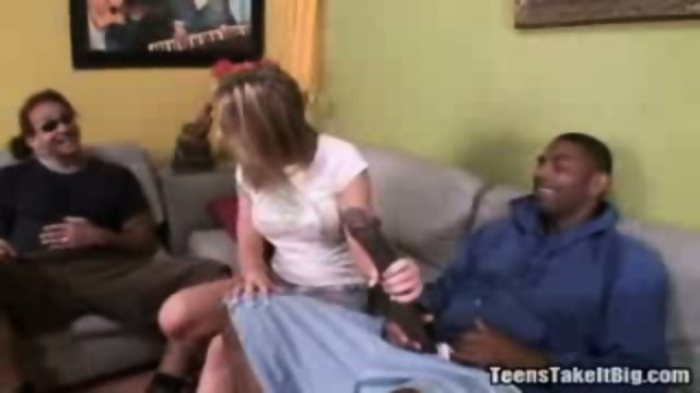 This dumb blonde gets to try sucking on two black monstercocks