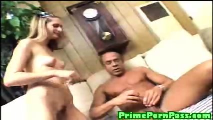 Sexy chick blows and gets fucked by a long black cock