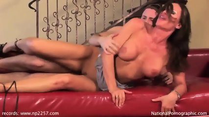 Amazing Babe Fucked On Red Leather Sofa - scene 9