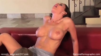 Amazing Babe Fucked On Red Leather Sofa - scene 5