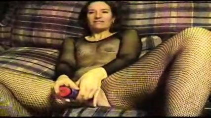 Sexy Suz doing Dildo in her fishnet stocking - scene 2