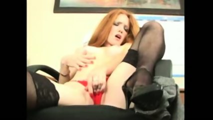 Redhead Secretary doing striptease and masturbation - scene 12