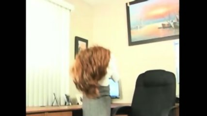 Redhead Secretary doing striptease and masturbation - scene 1