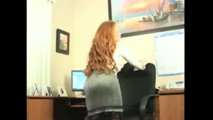 Redhead Secretary doing striptease and masturbation - scene 2