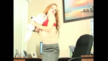 Redhead Secretary doing striptease and masturbation - scene 3