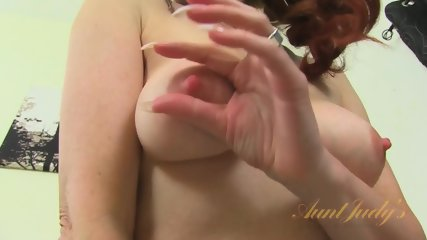 Mature Redhead Takes Off Clothes And Rubs Cunt - scene 7