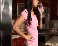 Beautiful Girl On Kitchen Coutertop - scene 1