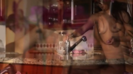 Beautiful Girl On Kitchen Coutertop - scene 12