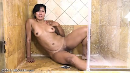 Mature Lady Rubs Pussy In The Shower - scene 6