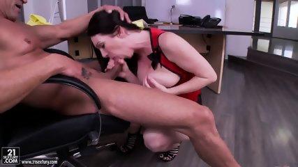 Big Titty Footsie Fucked On Desk - scene 2