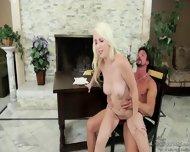 Shy Blonde Rides Cock On Desk - scene 8