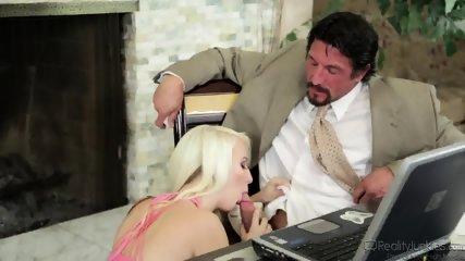 Shy Blonde Rides Cock On Desk - scene 2