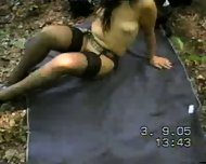 MILF decided to take a walk naked in the forest