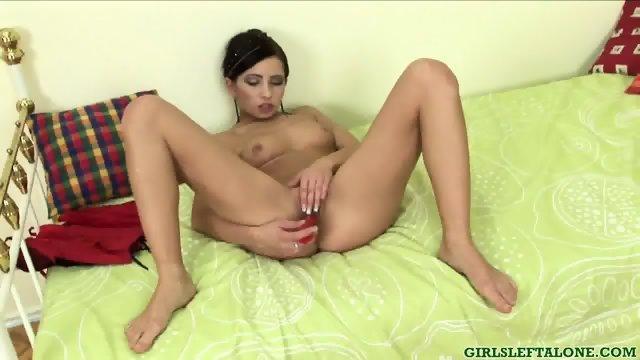 Girl In Red Lingerie Dildos Herself