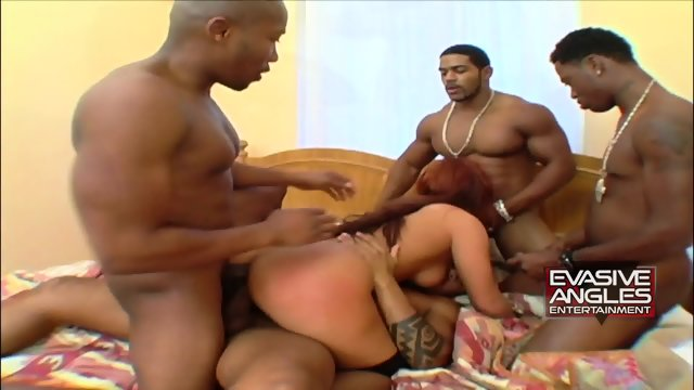 Redhead Slut Filled With Black Cocks