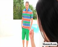 Kinky Stepmom India Summer Hot Threeway Near The Pool