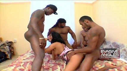 Four Black Guys Fuck Attractive Chick - scene 6