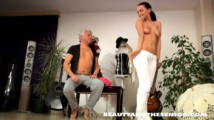 Young Babe Serves Older Guy - scene 4
