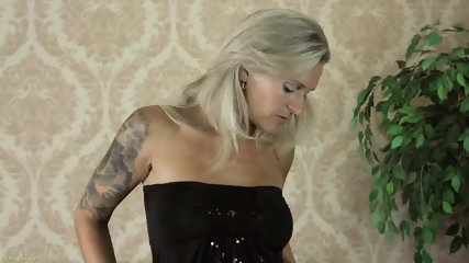 Solo On Bed By Hot Blonde With Stockings - scene 1