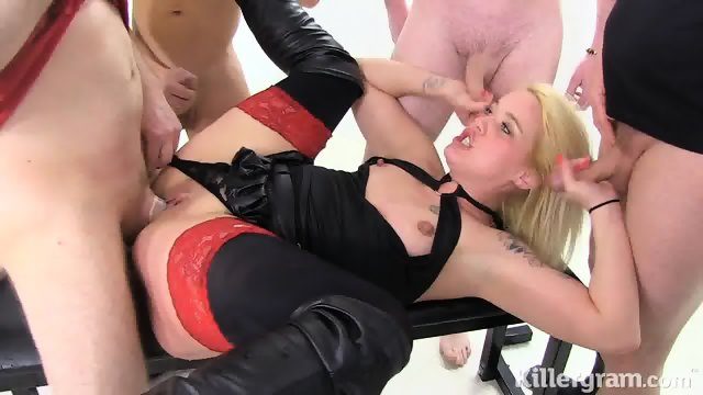 Slut With Stockings And Corset Gang Banged In Toilet