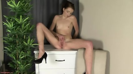 Sexy Secretary In Solo Action On Cupboard