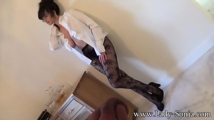 Mature Lady Shows Tits And Amazing Pantyhose - scene 3