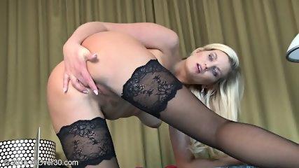Sexy Stockings On Blonde's Legs - scene 9