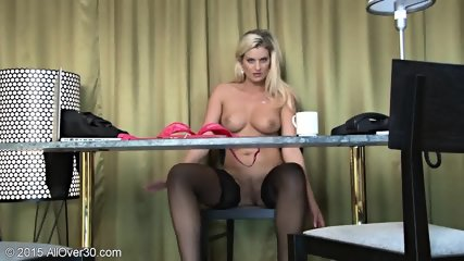 Sexy Stockings On Blonde's Legs - scene 11