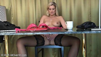 Sexy Stockings On Blonde's Legs - scene 12