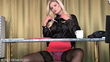 Sexy Stockings On Blonde's Legs - scene 1