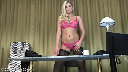 Sexy Stockings On Blonde's Legs - scene 4