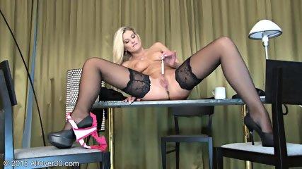 Sexy Stockings On Blonde's Legs - scene 7