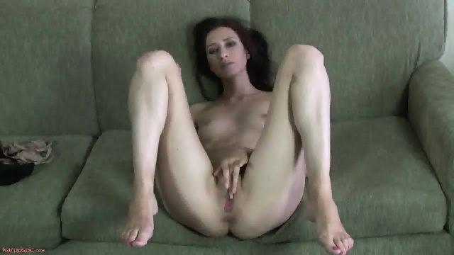 Charming Babe On Green Sofa
