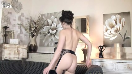 Elegant Lady Shows Cunt On Sofa - scene 9