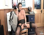 Naughty Secretary Plays With Toy