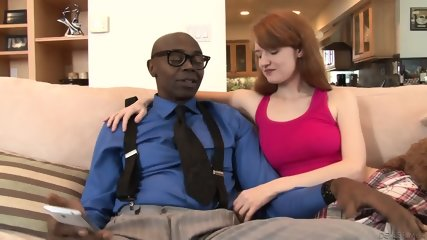 Young Redhead Rides Big Black Dick - scene 1