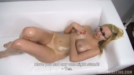 Blonde Girl With Glasses Shows Body At The Casting
